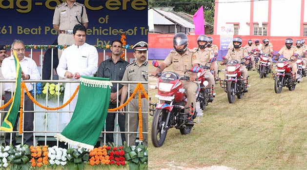 Tripura Chief Minister Biplab Kumar Deb flags off the he Beat Patrolling two wheelers on August 12, 2019. Photo courtesy: @BjpBiplab.jpg
