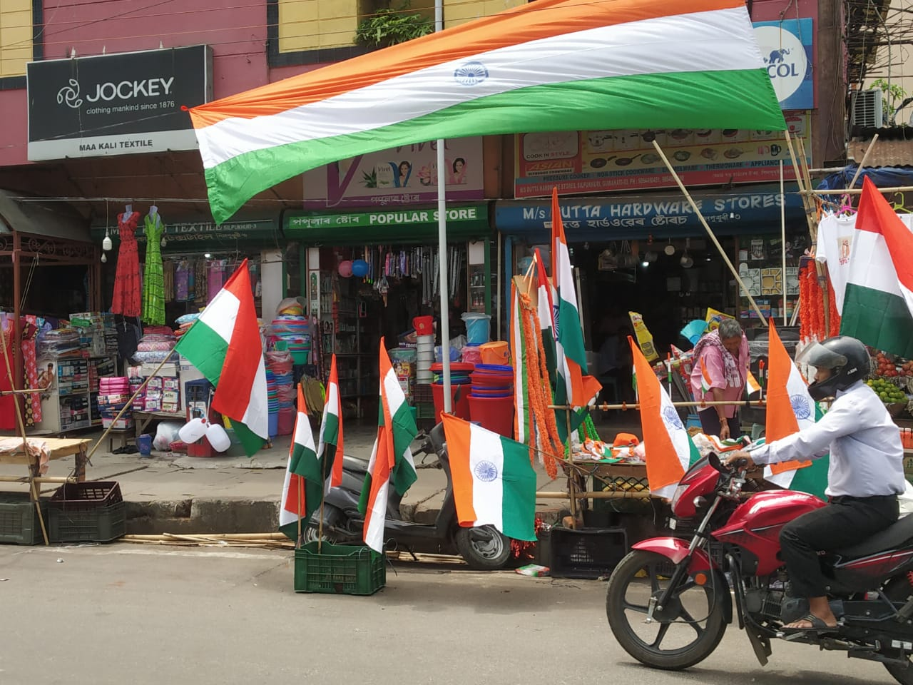 The markets in Guwahati are decked up with the Indian national flags in varying sizes. Photo: Time8