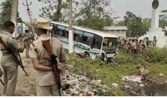 Assam: Bus carrying 40 security official falls into ditch